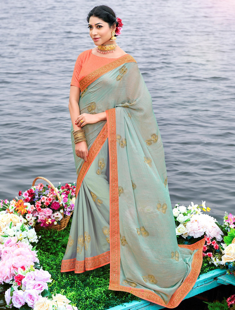 Light Aqua Blue Color Raw Silk Party & Function Wear Sarees :  Praniti Collection  NYF-2264 - YellowFashion.in