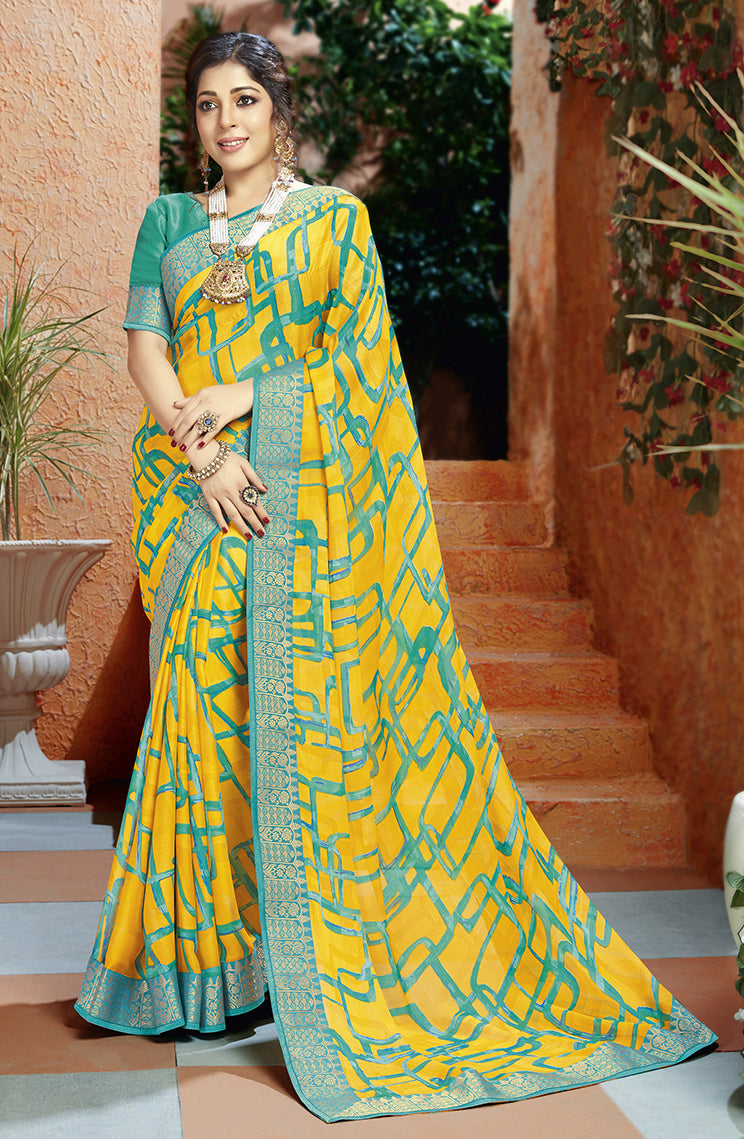 Yellow Color Georgette Kitty Party Sarees NYF-8407