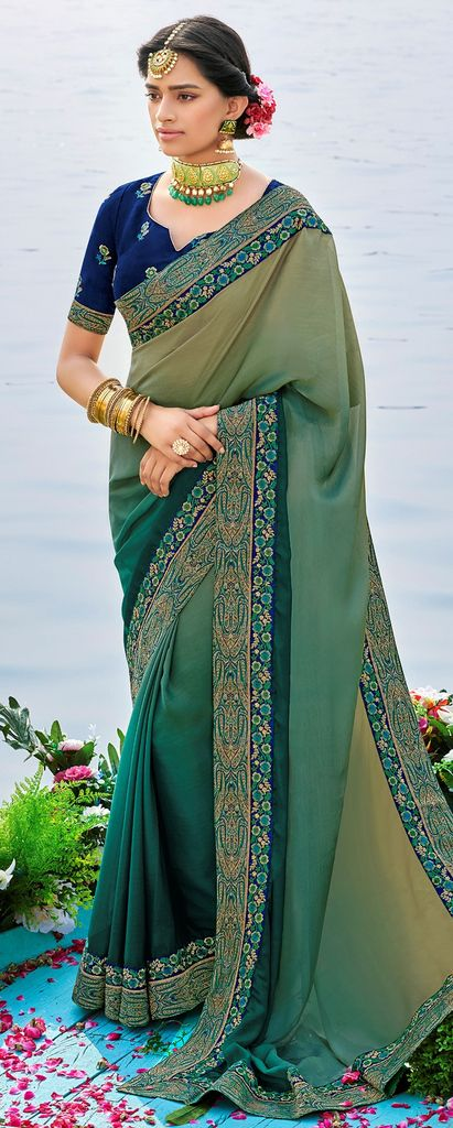 Light & Dark Rama Green Color Raw Silk Party & Function Wear Sarees :  Praniti Collection  NYF-2265 - YellowFashion.in