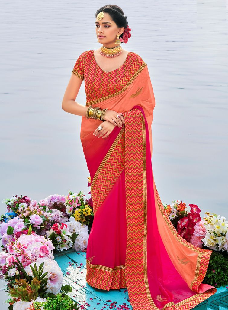Peach & Pink Color Raw Silk Party & Function Wear Sarees :  Praniti Collection  NYF-2266 - YellowFashion.in