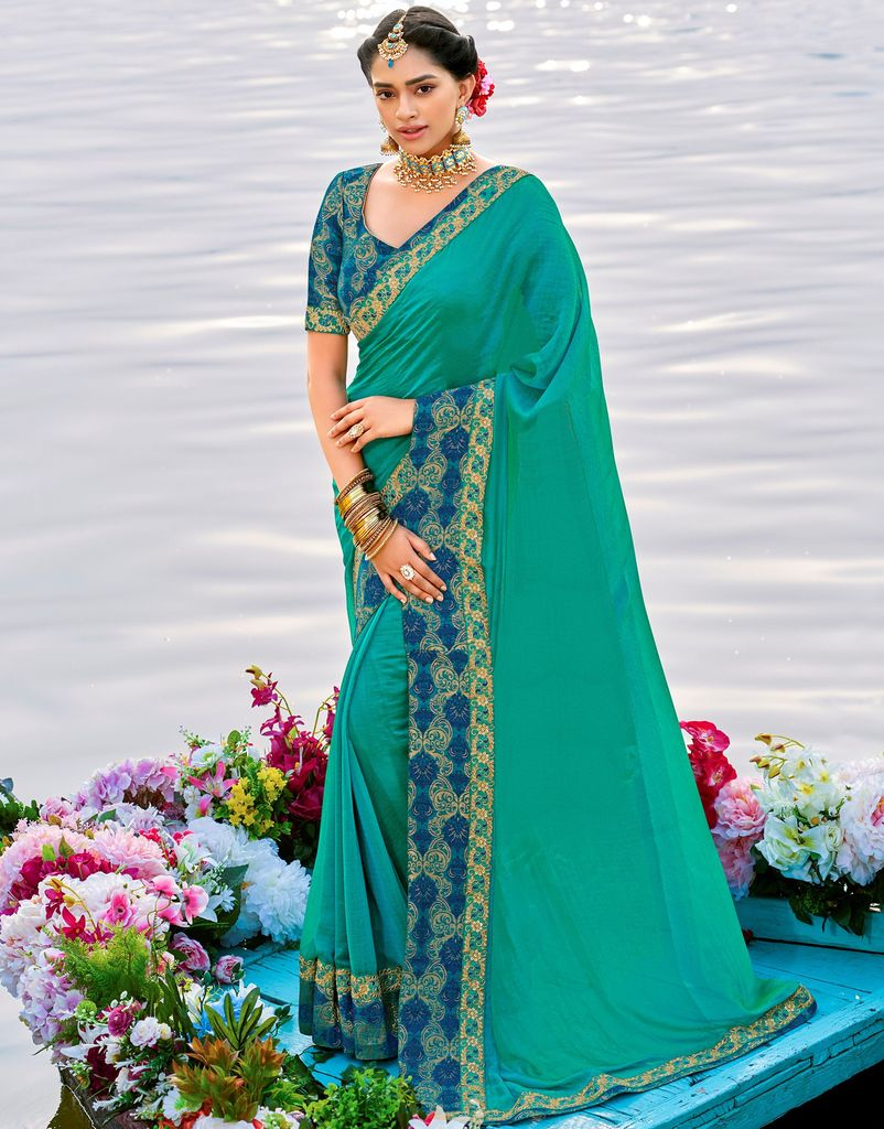 Sea Green Color Raw Silk Party & Function Wear Sarees :  Praniti Collection  NYF-2267 - YellowFashion.in