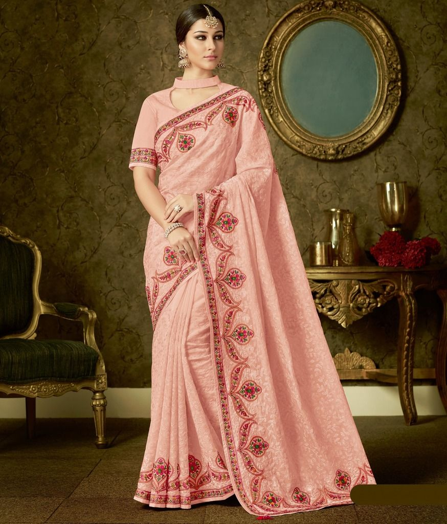 Pink Color Organza Designer Festive Sarees : Manrisha Collection  NYF-1659 - YellowFashion.in