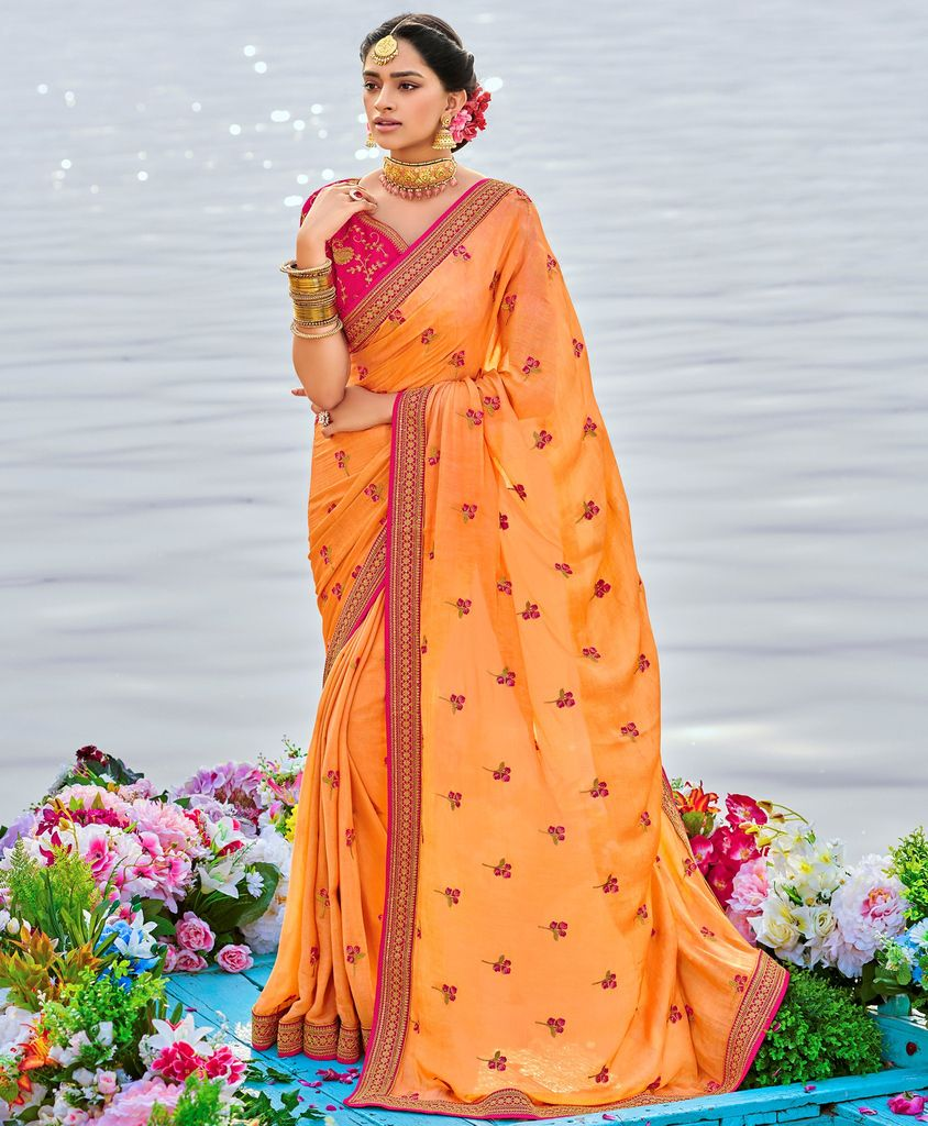 Peach Color Raw Silk Party & Function Wear Sarees :  Praniti Collection  NYF-2268 - YellowFashion.in