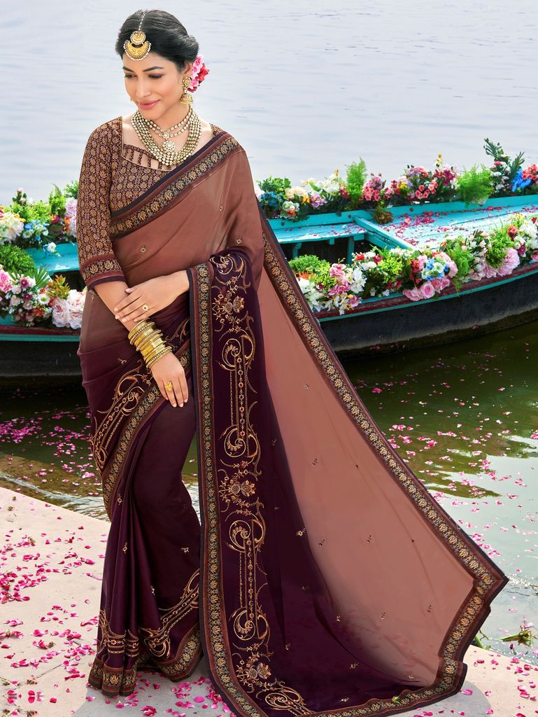 Light Brown & Burgandy Color Raw Silk Party & Function Wear Sarees :  Praniti Collection  NYF-2269 - YellowFashion.in