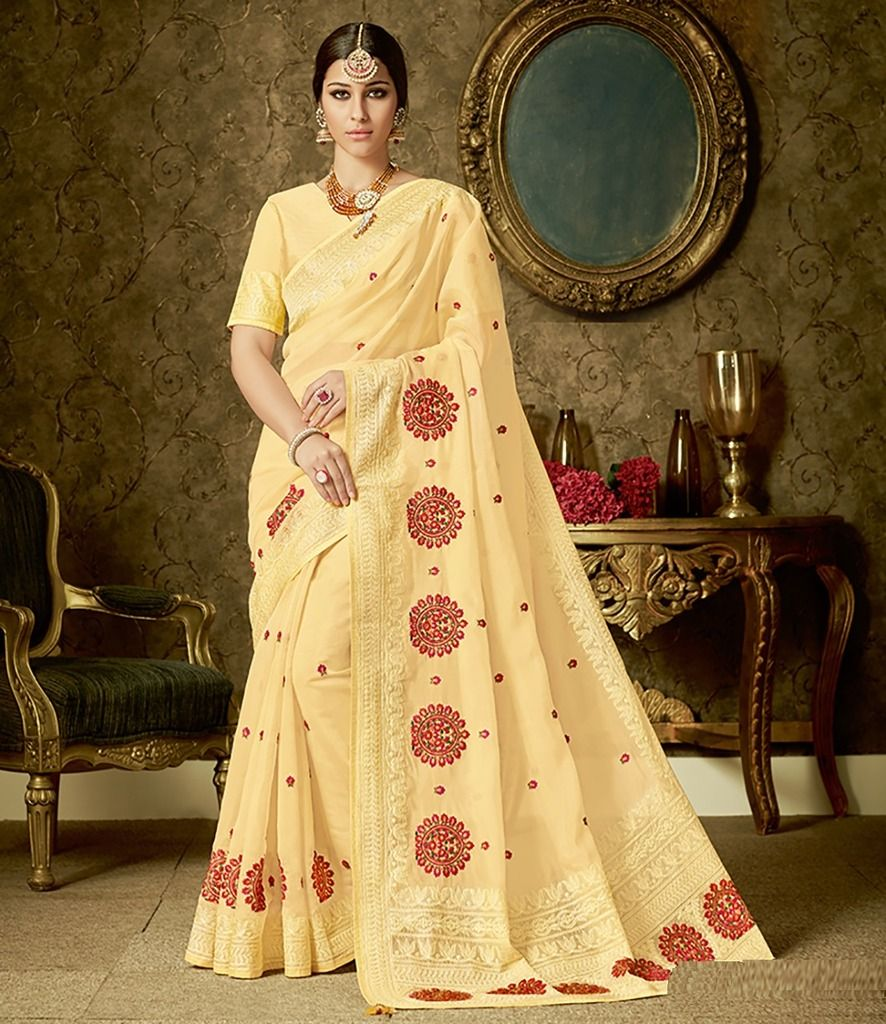 Light Yellow Color Organza Designer Festive Sarees : Manrisha Collection  NYF-1660 - YellowFashion.in