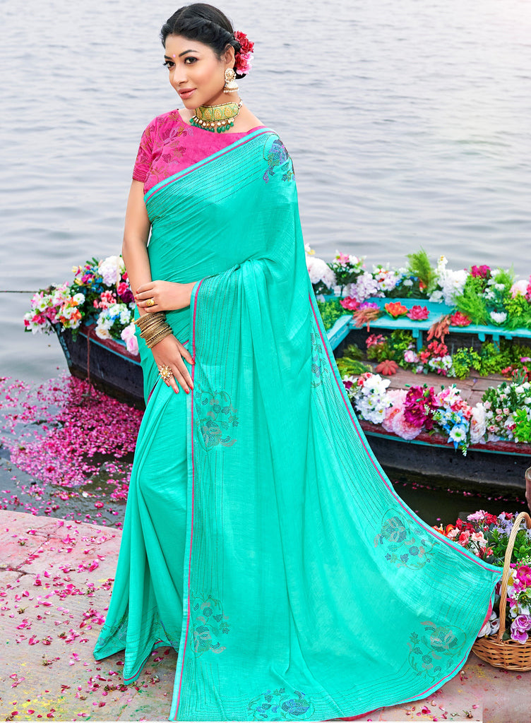Aqua Green Color Raw Silk Party & Function Wear Sarees :  Praniti Collection  NYF-2270 - YellowFashion.in