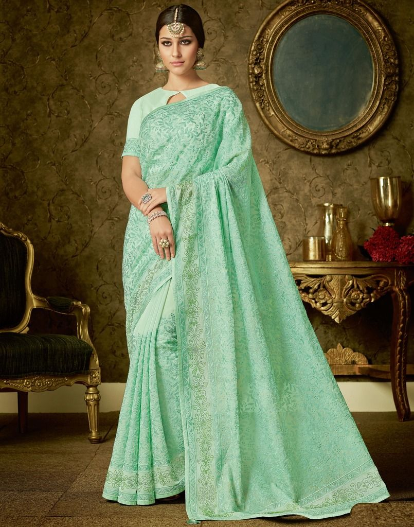 Aqua Green Color Organza Designer Festive Sarees : Manrisha Collection  NYF-1661 - YellowFashion.in