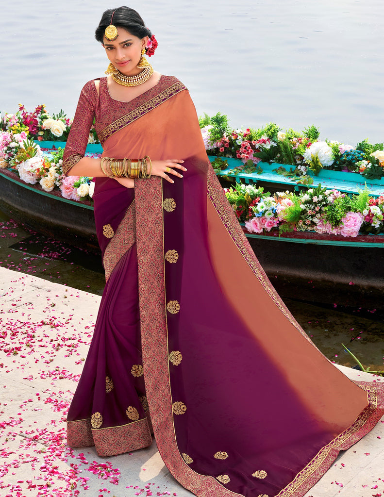Peach & Purple Color Raw Silk Party & Function Wear Sarees :  Praniti Collection  NYF-2271 - YellowFashion.in