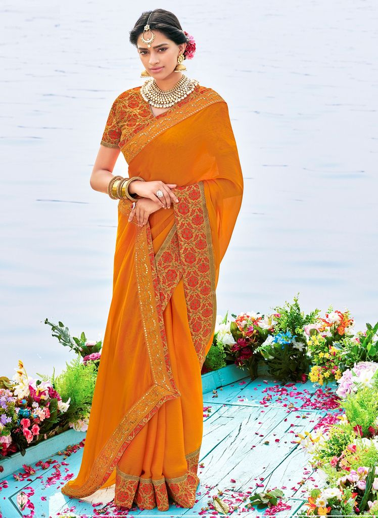 Mustard Orange Color Raw Silk Party & Function Wear Sarees :  Praniti Collection  NYF-2272 - YellowFashion.in