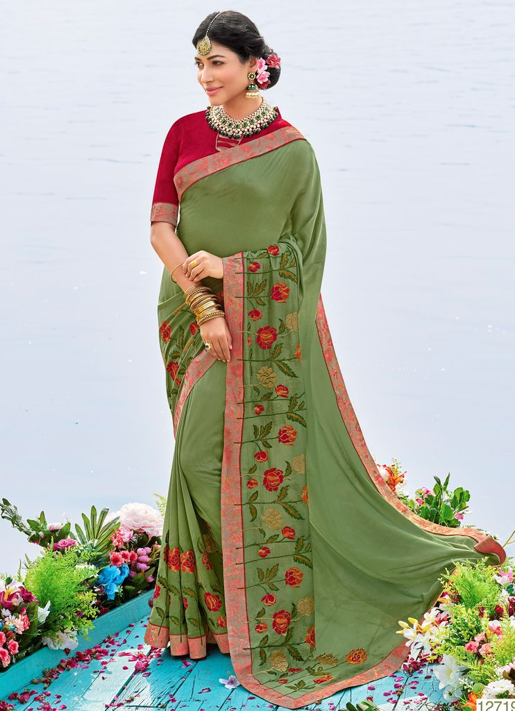 Olive Green Color Raw Silk Party & Function Wear Sarees :  Praniti Collection  NYF-2273 - YellowFashion.in
