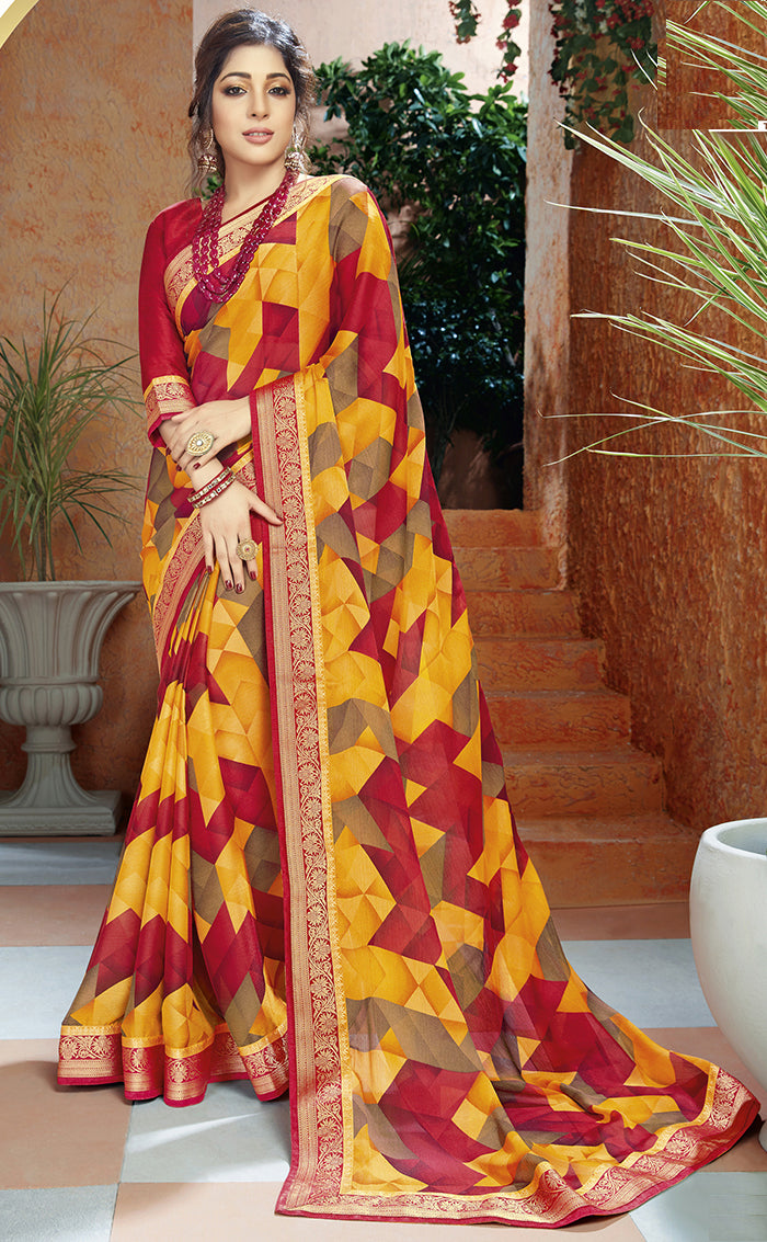 Yellow & Red Color Georgette Kitty Party Sarees NYF-8408