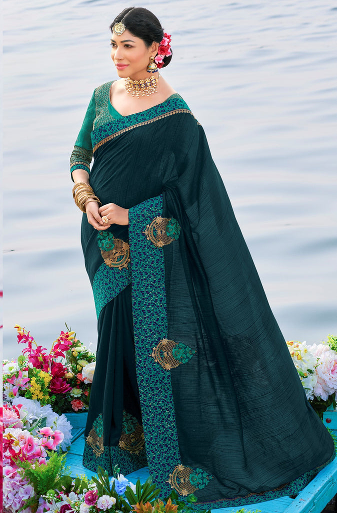 Rama Blue Color Raw Silk Party & Function Wear Sarees :  Praniti Collection  NYF-2274 - YellowFashion.in
