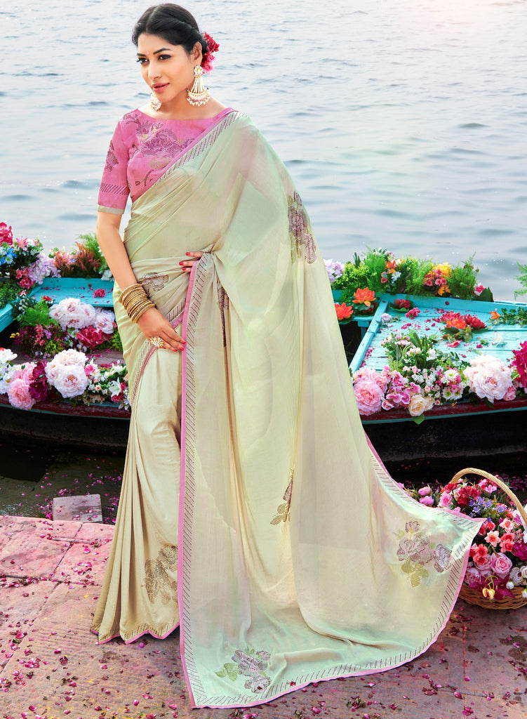 Cream Color Raw Silk Party & Function Wear Sarees :  Praniti Collection  NYF-2275 - YellowFashion.in