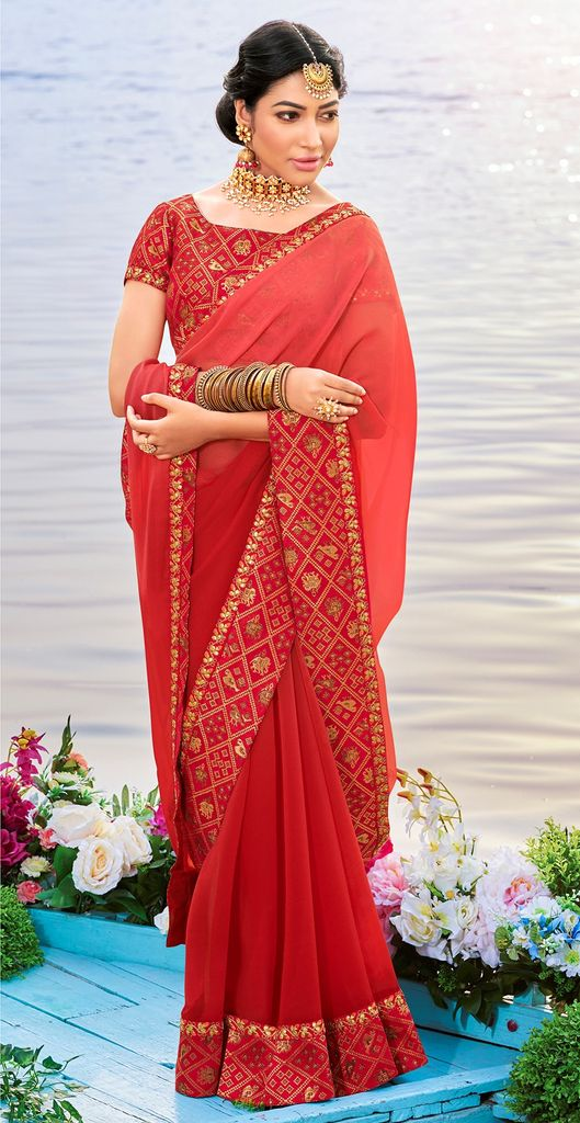 Light & Dark Brick Red Color Chiffon Party & Function Wear Sarees :  Praniti Collection  NYF-2276 - YellowFashion.in