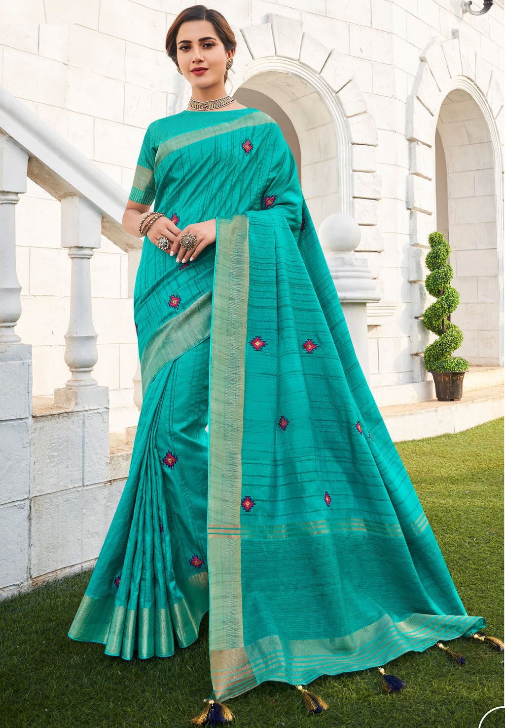 Firozi Color Banarasi Cotton Silk  Sarees For Newly Wedded NYF-5702