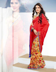 Red Color Jaquard Crepe and Georgette Sarees For Ocassions : Aaliya Collection  YF-19867