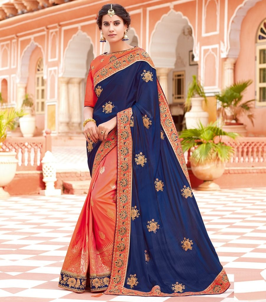 Blue & Peach Color Weaving Silk Designer Festive Sarees : Manrisha Collection  NYF-1697 - YellowFashion.in