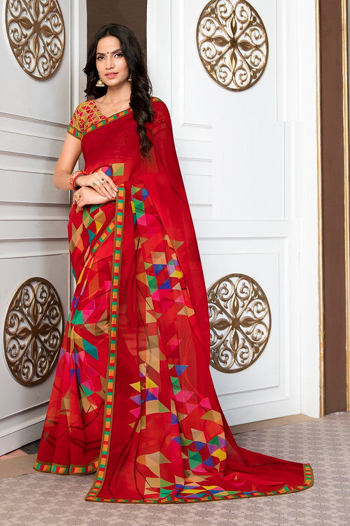 Red Color Georgette Casual Wear Saree -Ladli Bahu  Collection  YF#11262