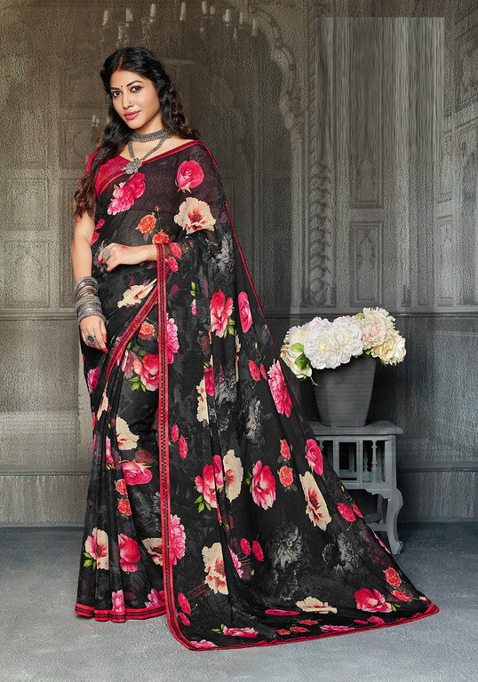 Black and Pink Color Chiffon Casual Wear Saree -Ladli Bahu  Collection  YF#11264