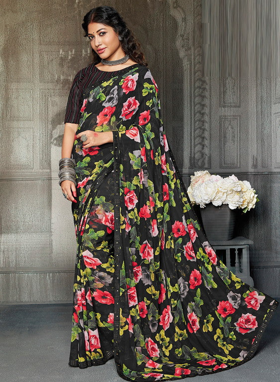 Black Color Chiffon Casual Wear Saree -Ladli Bahu  Collection  YF#11265