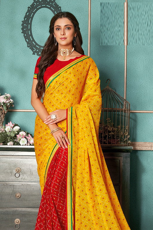 Yellow and Red Color Chiffon Casual Wear Saree -Ladli Bahu  Collection  YF#11266