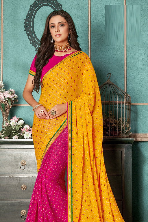 Yellow and Pink Color Chiffon Casual Wear Saree -Ladli Bahu  Collection  YF#11268