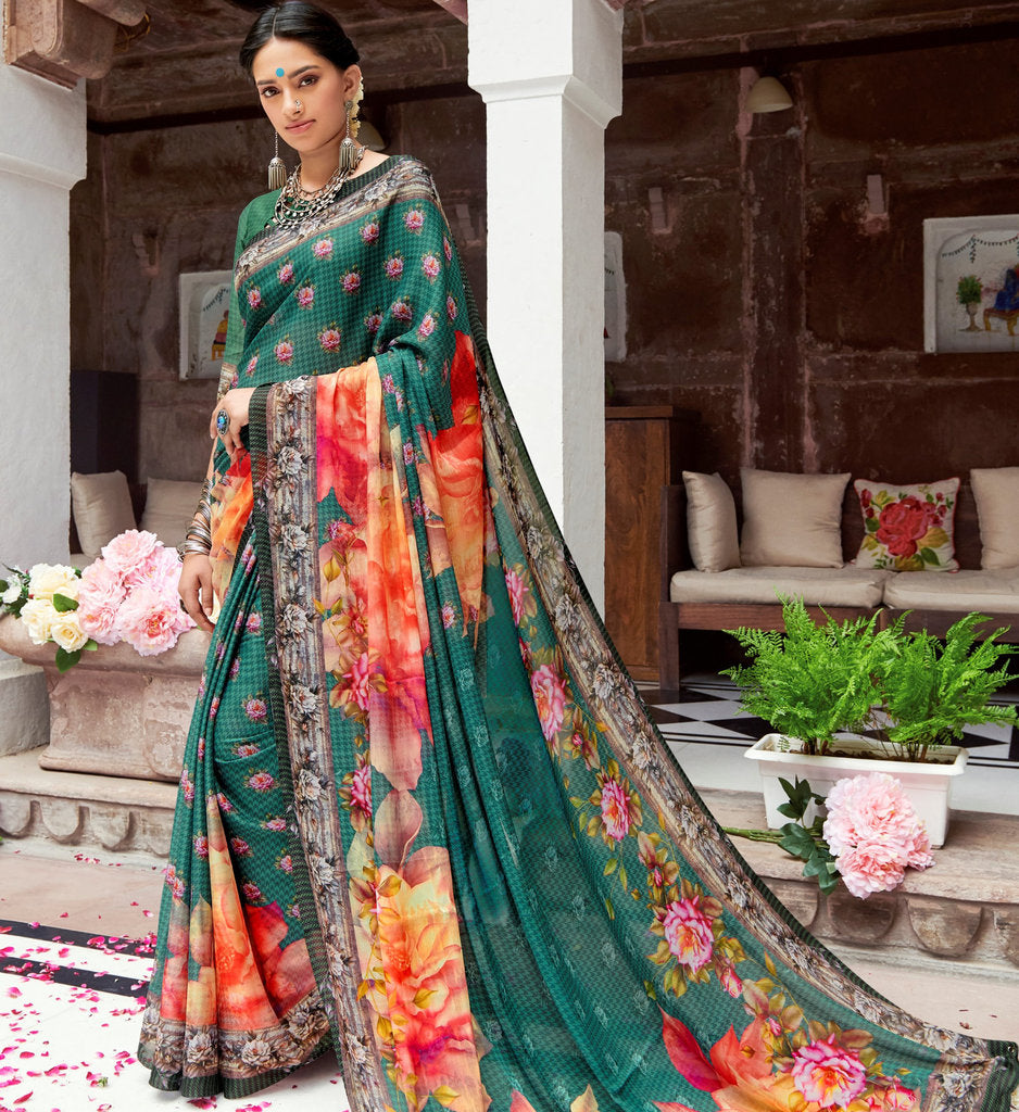 Rama Green Color Pashmina Silk Party & Function Wear Sarees :  Praniti Collection  NYF-2217 - YellowFashion.in