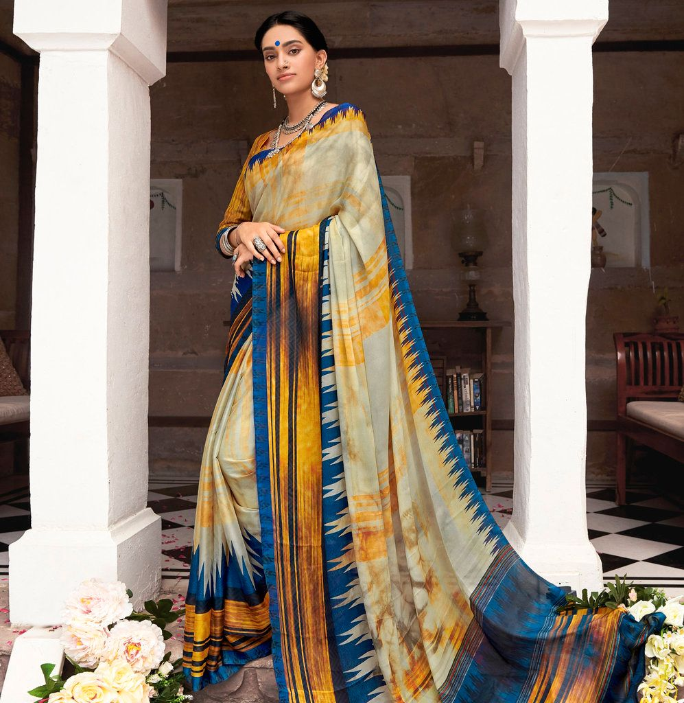 Cream, Yelow & Blue Color Chiffon Party & Function Wear Sarees :  Praniti Collection  NYF-2218 - YellowFashion.in