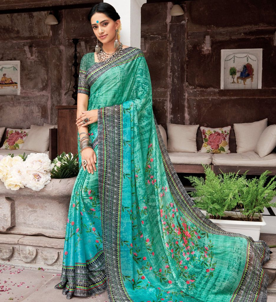 Sea Green Color Pashmina Silk Party & Function Wear Sarees :  Praniti Collection  NYF-2220 - YellowFashion.in