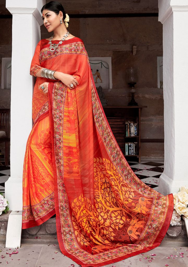 Orange Color Pashmina Silk Party & Function Wear Sarees :  Praniti Collection  NYF-2221 - YellowFashion.in