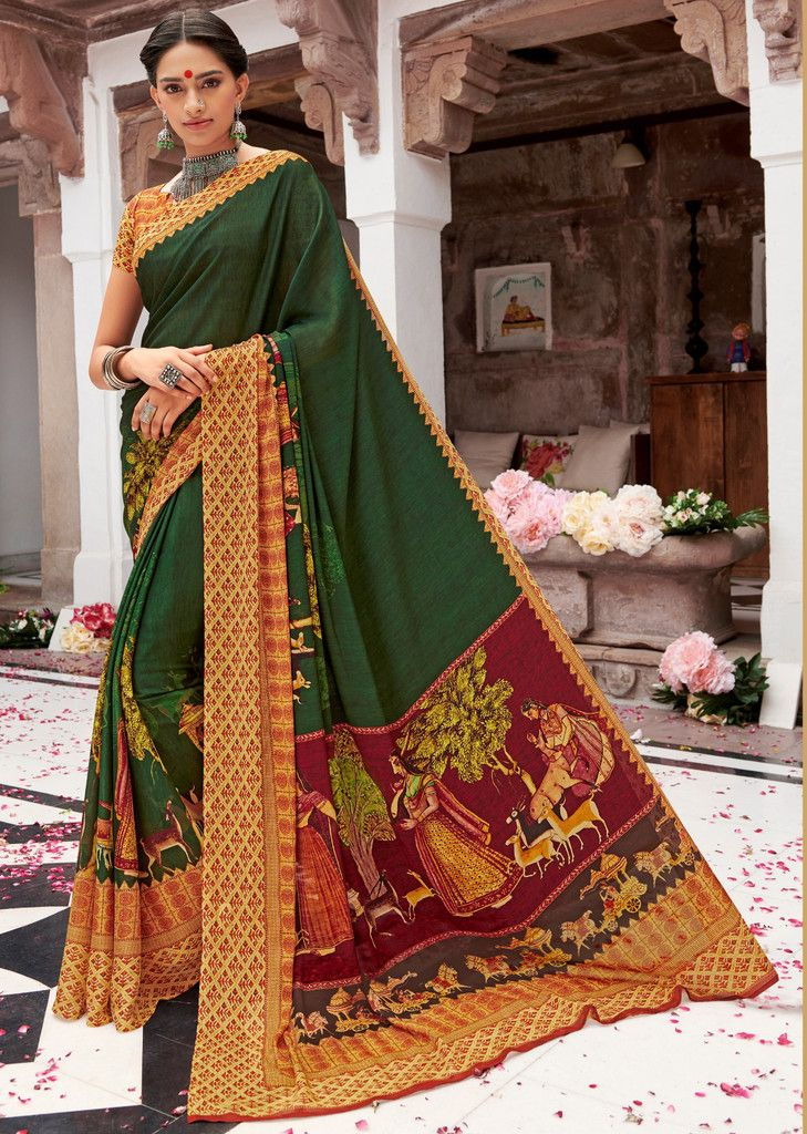 Green Color Pashmina Silk Party & Function Wear Sarees :  Praniti Collection  NYF-2222 - YellowFashion.in