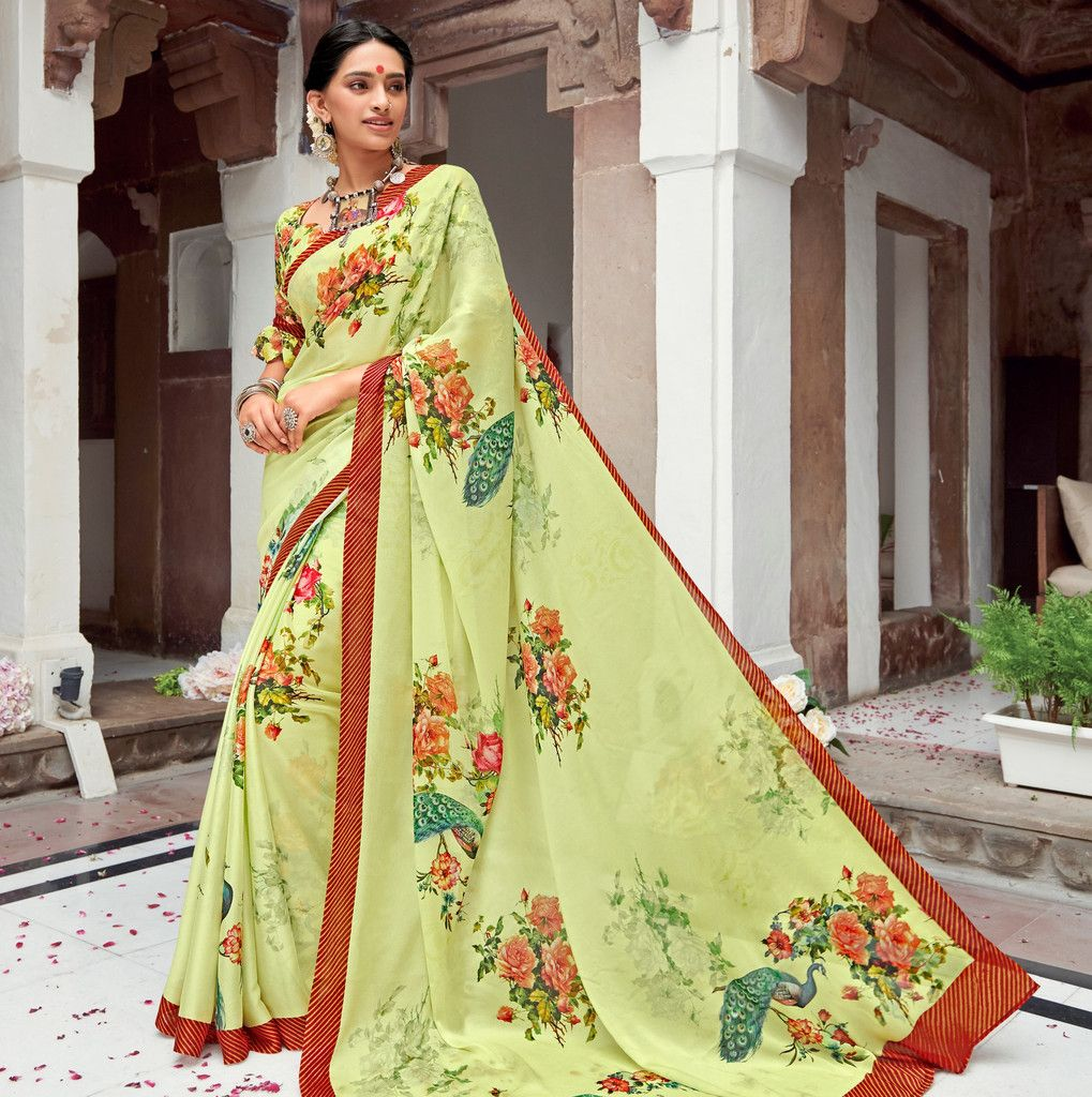Pastel Green Color Pashmina Silk Party & Function Wear Sarees :  Praniti Collection  NYF-2223 - YellowFashion.in