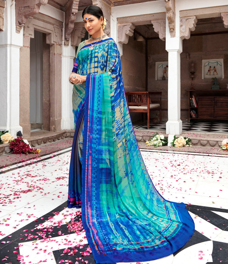 Blue & Sea Green Color Pashmina Silk Party & Function Wear Sarees :  Praniti Collection  NYF-2301 - YellowFashion.in