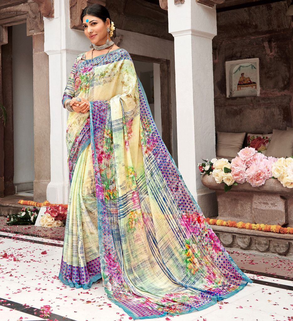 Cream Color Pashmina Silk Party & Function Wear Sarees :  Praniti Collection  NYF-2302 - YellowFashion.in