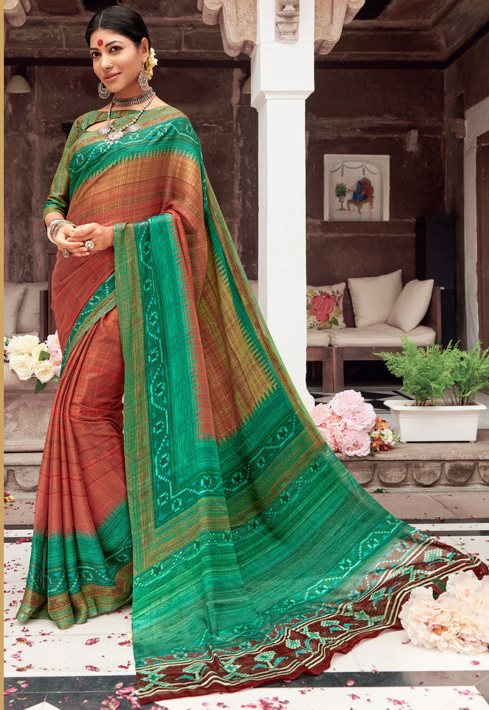 Brown  & Green Color Pashmina Silk Party & Function Wear Sarees :  Praniti Collection  NYF-2303 - YellowFashion.in