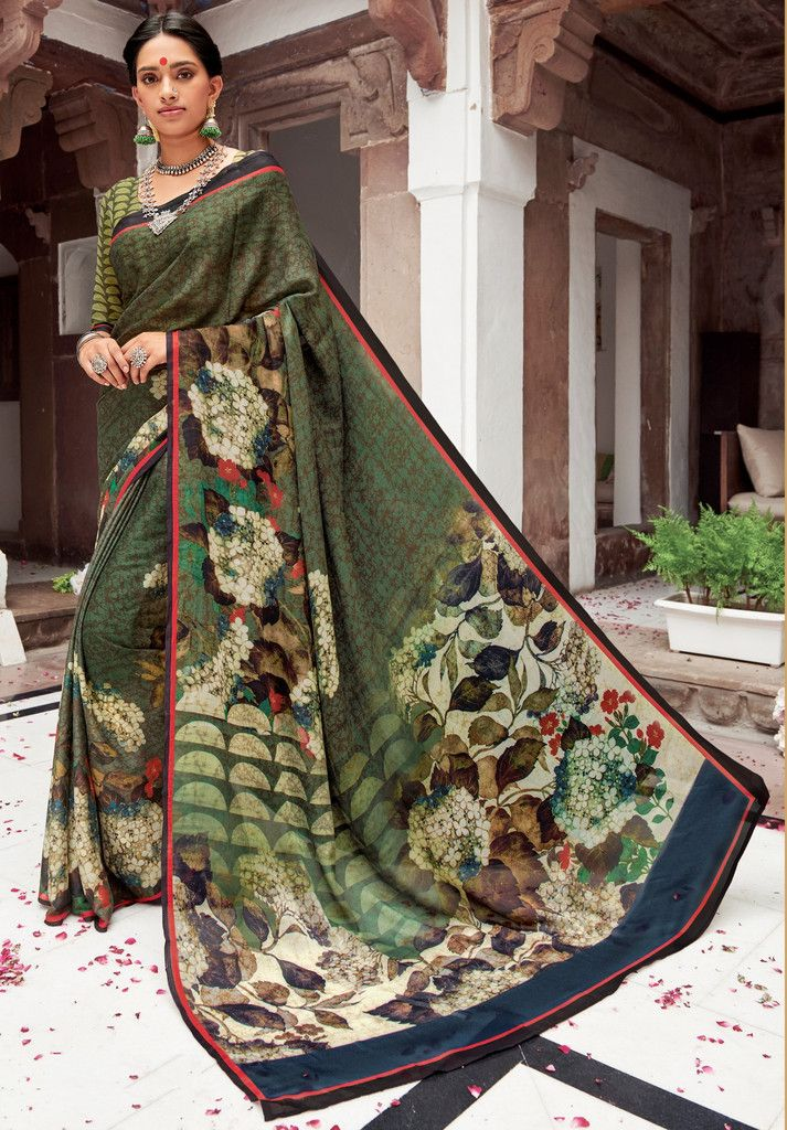 Olive Green Color Pashmina Silk Party Function Wear Sarees Praniti Collection Nyf 2304 Yellowfashion In