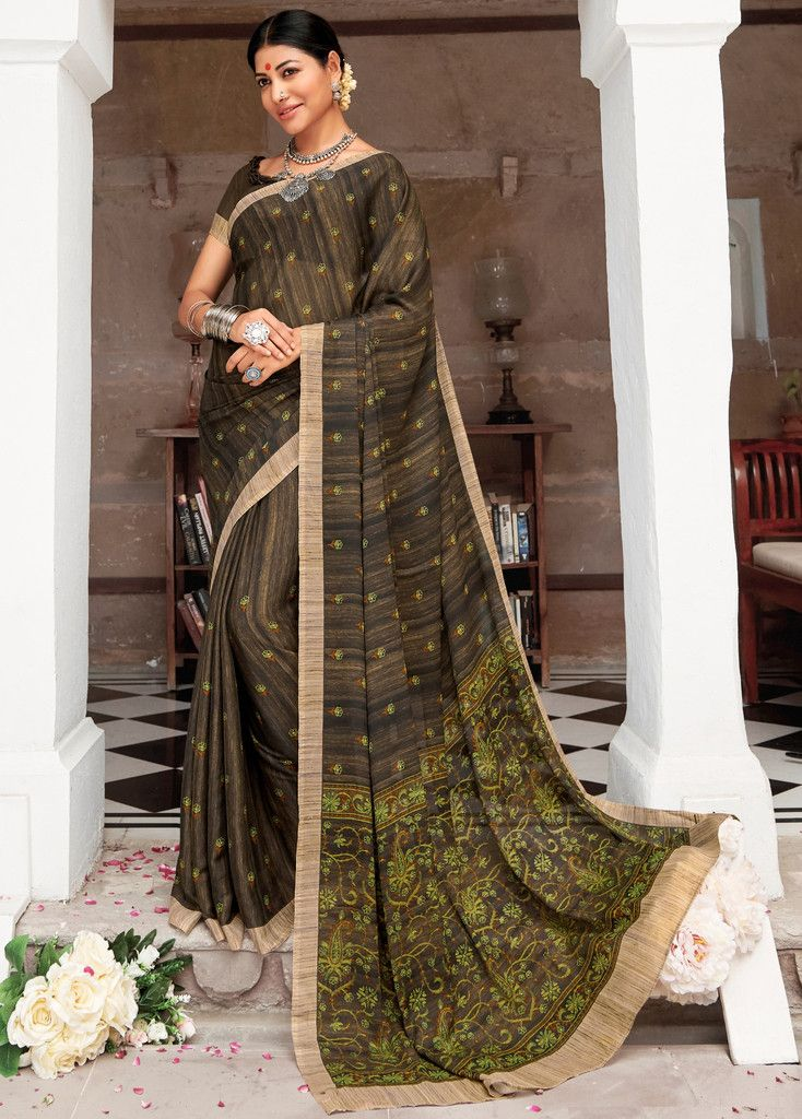 Brown Color Pashmina Silk Party & Function Wear Sarees :  Praniti Collection  NYF-2305 - YellowFashion.in