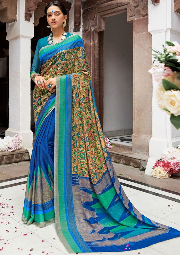 Blue Color Pashmina Silk Party & Function Wear Sarees :  Praniti Collection  NYF-2308 - YellowFashion.in
