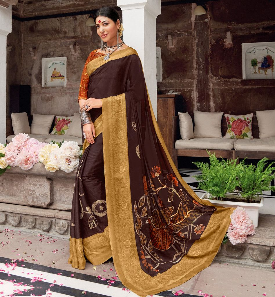 Brown Color Pashmina Silk Party & Function Wear Sarees :  Praniti Collection  NYF-2311 - YellowFashion.in