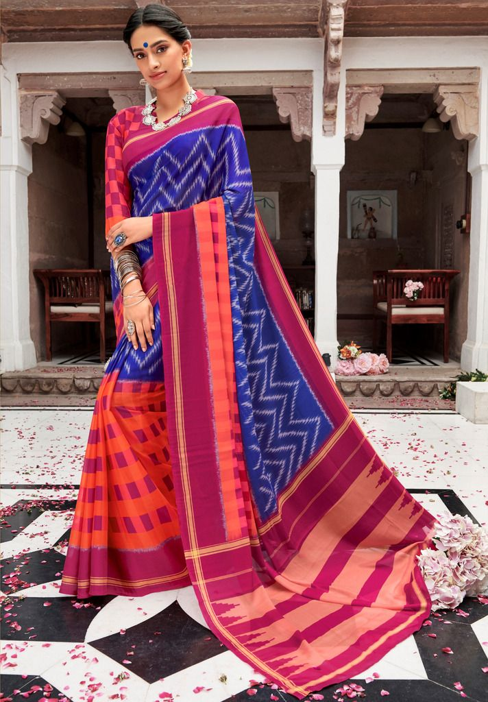 Blue, Orange & Pink Color Pashmina Silk Party & Function Wear Sarees :  Praniti Collection  NYF-2314 - YellowFashion.in