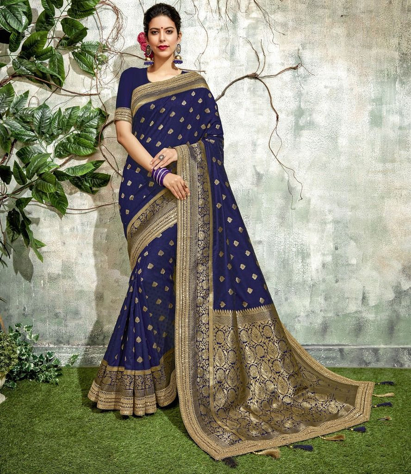Royal Blue Color Weaving Silk Designer Festive Sarees : Manrisha Collection  NYF-1663 - YellowFashion.in