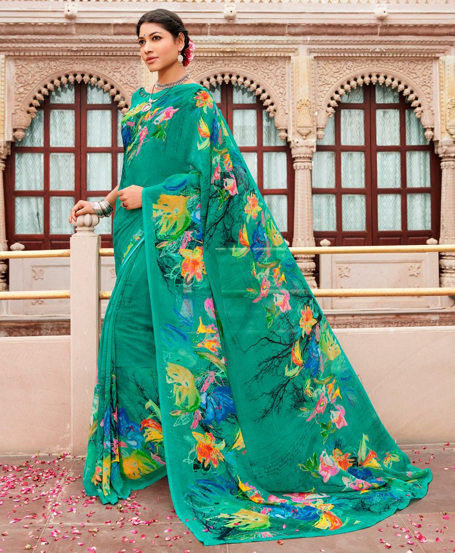 Rama Green Color Chiffon Party & Function Wear Sarees : Ranjita Collection  NYF-2438 - YellowFashion.in