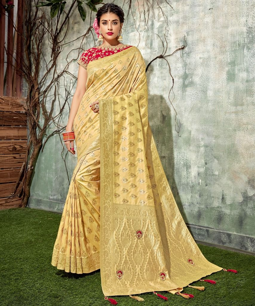 Light Yellow Color Weaving Silk Designer Festive Sarees : Manrisha Collection  NYF-1664 - YellowFashion.in