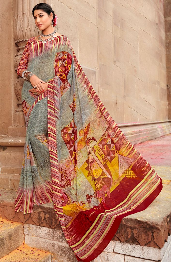 Multi Color Chiffon Party & Function Wear Sarees : Ranjita Collection  NYF-2439 - YellowFashion.in