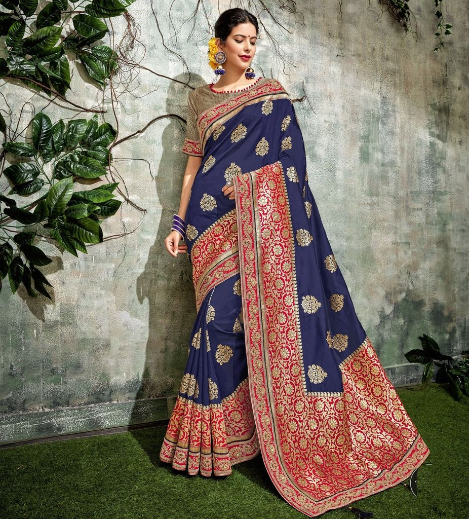 Blue Color Weaving Silk Designer Festive Sarees : Manrisha Collection  NYF-1667 - YellowFashion.in