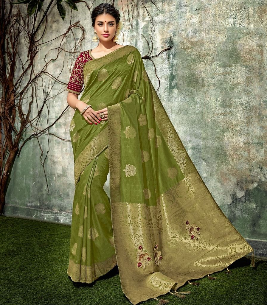 Mehendi Green Color Weaving Silk Designer Festive Sarees : Manrisha Collection  NYF-1668 - YellowFashion.in