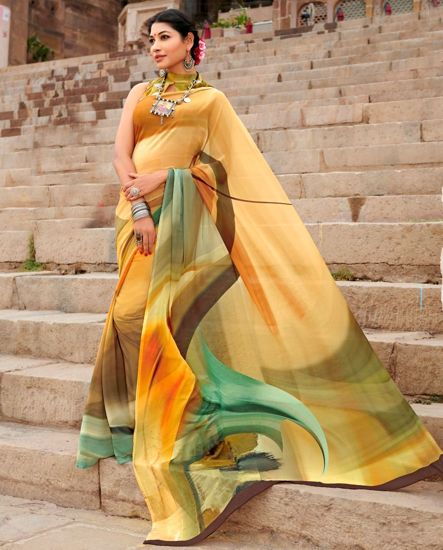 Multi Color Chiffon Party & Function Wear Sarees : Ranjita Collection  NYF-2437 - YellowFashion.in