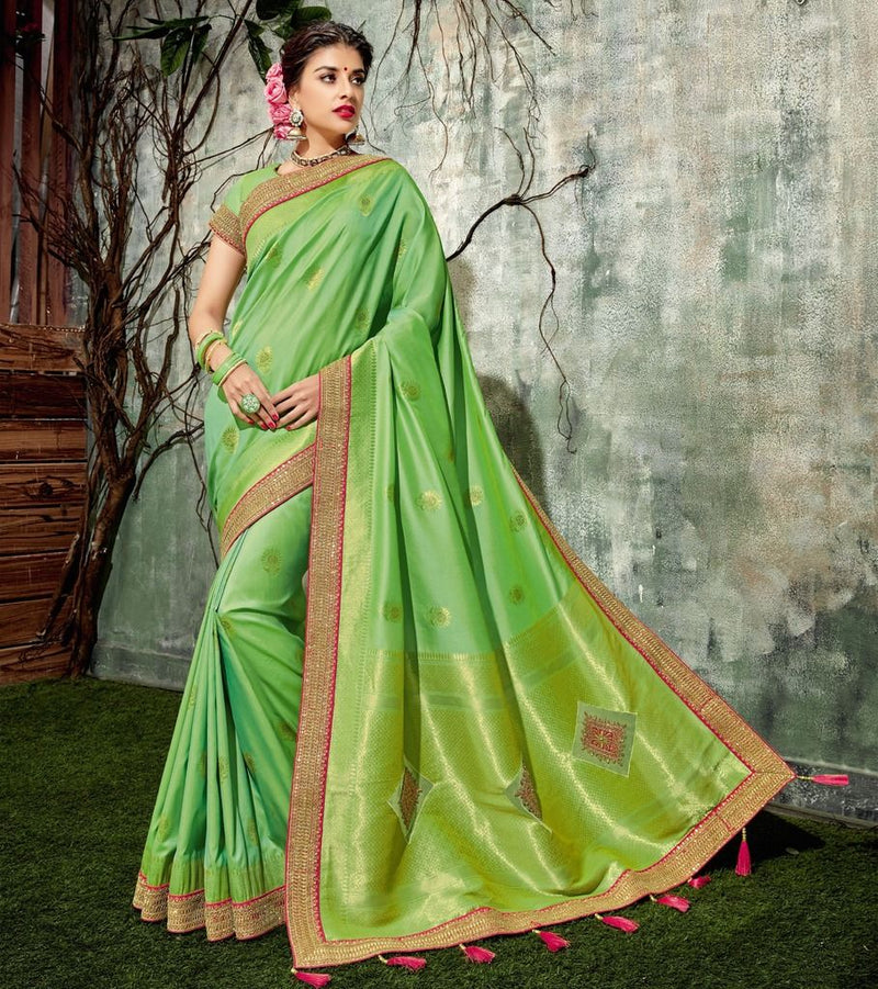 Green Color Weaving Silk Designer Festive Sarees : Manrisha Collection  NYF-1669 - YellowFashion.in