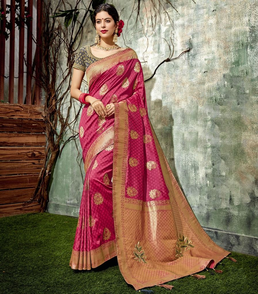 Pink Color Weaving Silk Designer Festive Sarees : Manrisha Collection  NYF-1670 - YellowFashion.in