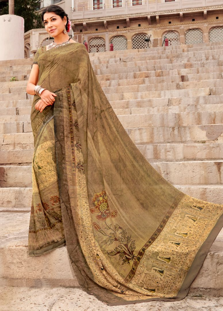 Beige Color Chiffon Party & Function Wear Sarees : Ranjita Collection  NYF-2435 - YellowFashion.in